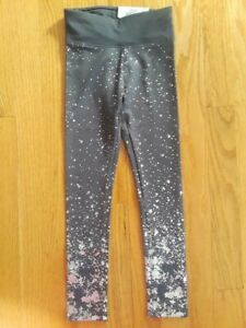 "Justice Girls' Size 12 Gray High Waist Shimmer Foil Star Leggings - ""Wicking..."""