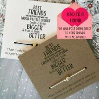 Inspirational Wish String Charm Card Best Friends Smile Friendship Bracelet 15