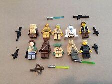 LEGO lot of 10 Star Wars Good Guy Minifigs Yoda Luke Leia Han R2-D2 Chewie H306