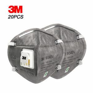 20 x 3M 9542V FFP2 N95 Valved FoldFlat Dust Respirator Headband Face Masks