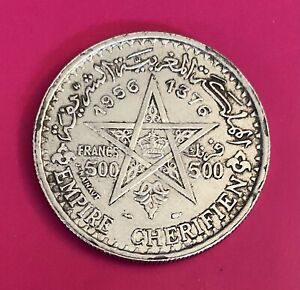 Foreign Silver Coin - 1956 (1376) - 500 Francs - Morocco -XF+