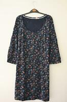 NEW FAT FACE UK SIZE 12 DARK BLUE SMALL FLORAL PRINT JERSEY TUNIC TOP