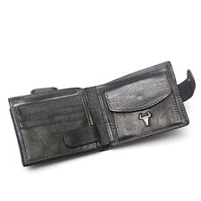 Men Real Leather Vintage Coin Wallet Credit Card Purse Cash Clutch Holder Black