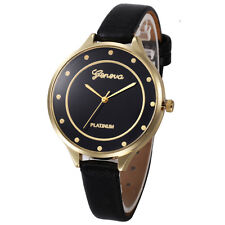 Women Casual Checkers Faux Leather Quartz Analog Wrist Watch Black Free Shipping