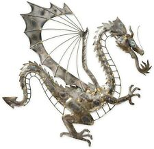 Wall Decor Dragon Metal Garden Art Sculpture Home Patio Accent Outdoor Plaque