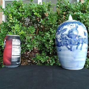 Antique Chinese Blue And White Porcelain Vase Jar Pot Dragon Horse 19th Century