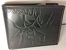 FOSSIL Mens Lodge Wallet Moose Reindeer Bifold Flip ID Leather RFID Outdoorsman