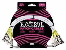 Ernie Ball 6055 Patchkabel 30 cm, 3er Pack Winkelklinkenstecker PVC-Mantel White