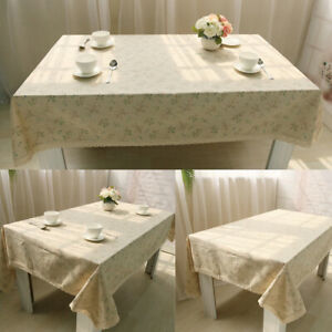 Cotton Linen Tablecloth Floral Table Cloth Cover Rectangle Fabric Dinner Decor