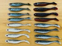 16x Flathead Lures Soft Plastics Jig Head Lures Paddle Tail Shad Lure Bream Bass