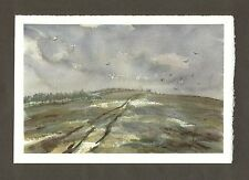 Darfield Hill ORIGINAL WATERCOLOUR LANDSCAPE PAINTING Signed Steve Greaves Crows