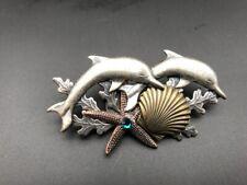 A106a Vtg Brooch Pin Silver Tone Starfish Dolphin Porpoise Green Rhinestone Shel