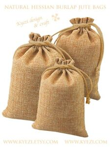 "5""x7"" 25 50 100 Hessian Burlap Jute Linen Gift Bags, Drawstring Jewelry Pouch"