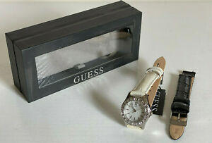 GUESS BLACK & WHITE INTERCHANGEABLE GENUINE LEATHER STRAPS BRACELET WATCH $90