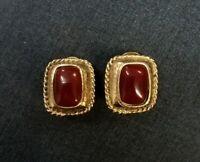 Red & Gold Premier Design Vintage Earrings Stud/Clip on Dual Purpose