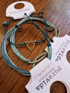 ❣NEW New❣PuraVida silver TRIANGLE bracelet--lot of 3 matching bracelets..
