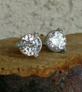 Judith Ripka 100 Facet Diamonique 5ctw Stud Earrings With Large Backs Sterling S