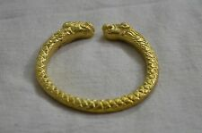 PURE BRASS KADA BANGLE~HEAVY 100 GMS~ GOLD POLISHED VD LION FACE AT OPENING