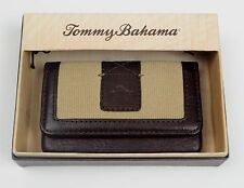 Tommy Bahama ID Case Credit Card Holder Small Wallet Leather Canvas w/Box, $45
