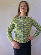 Vintage retro true 50s 10 S unused green cotton flannel deer blouse top NOS