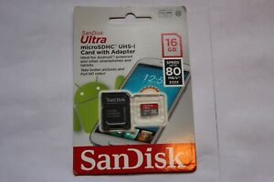 SanDisk Ultra MicroSDHC UHS-1 Card with Adapter 16GB 80 MB/s