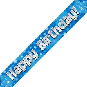 Blue Happy Birthday Foil Party Banner Decoration Stars Holographic Sparkle