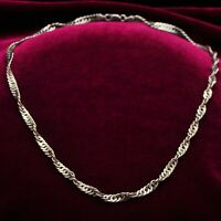 Italian Twist Design Curb Chain Necklace in 925 Sterling Silver