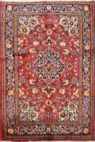 Traditional RED/NAVY BLUE Bidjar Floral Hand-Knotted Area Rug Wool Carpet 4'x5'