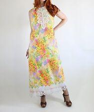 Vtg 60s Yellow Floral Maxi Dress Lace Trim L Garden Party Dress Sleeveless Wow