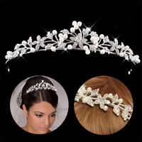Princess Wedding Bridal Prom Rhinestone Crystal Flower Hair Band Tiara Headband
