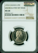 1970 CANADA 25 CENTS NGC MAC MS-68 PQ 2ND FINEST GRADE SPOTLESS .