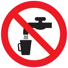 NOT DRINKING WATER health and safety signs 6No 100x100mm