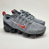 Nike Air Vapormax Flyknit 3 GS Size 4Y PARTICLE GREY RED Sneakers BQ5238 006 NEW