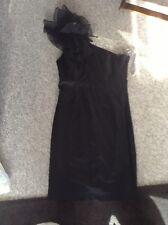 Red Herring Ladies Black Satin One Shoulder Party Dress Size 10