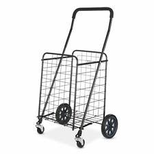 Adjustable Steel Rolling Large Shopping Cart Folding Utility Cart Black