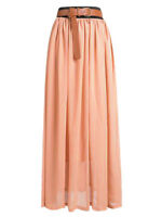 Lady Women Chiffon Maxi Skirt Pleated Retro Long Dress Elastic Waist | 25 Colors