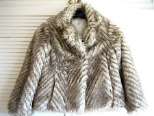 M&S/AUTOGRAPH WHITE/BROWN FAUX FUR JACKET/COAT UK6, marks on lining  (0.7/52.3)