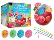 Cocktail Fish Bowl Drinking Set With Flexi Straws & Umbrellas 2.8L NEW