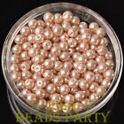 New 300pcs 6mm Round Czech Glass Pearl Loose Spacer Beads Pearl Pink