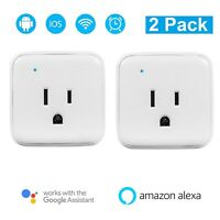 Pair of Smart Wi-Fi Wifi Power Outlet Plugs for Amazon Alexa Dot Fire Echo Plus