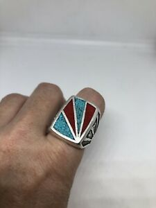 1980's Vintage Inlay Real Turquoise Stone Southwestern Men's Size 13.75 Ring