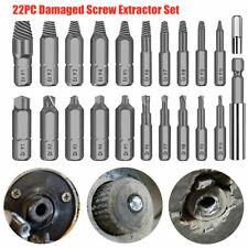 22Pcs Damaged Stripped Screw Extractor Drill Bits Broken Remover Bolt Tool Set