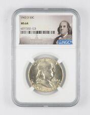 1963-D MS64 Franklin Half Dollar - 90% SILVER - NGC Graded *857