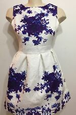 Vintage Women White Purple Floral Sleeveless Zip Up Dress Size Small
