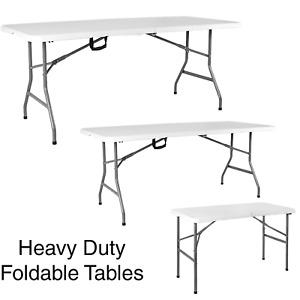 4 5ft 6 Folding Table Heavy Duty Trestle Camping Party Picnic BBQ Still Garden
