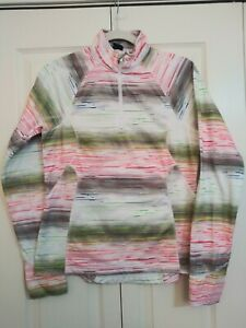 FILA Women's Multi Color Abstract Print Pullover 1/4 Zip Running Jacket Size M