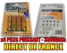 4 Piles AA 3800mAh Rechargeable Mignon LR6 1.2V Ni-Mh  TRES PUISSANT - DE FRANCE
