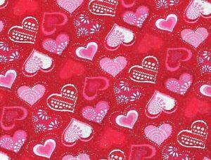 FAT QUARTER VALENTINE'S DAY COTTON FABRIC HEARTS GLITTER METALLIC RED SWEETHEART