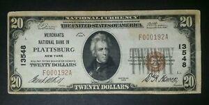1929 $20 Merchants National Bank in Plattsburg 13548 National Currency Note