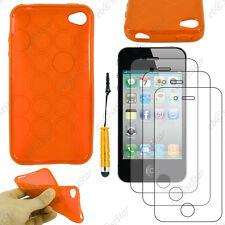 Coque SiliconeCercle Orange Apple iPhone 4S 4+Mini Stylet+3 Film écran